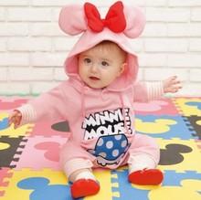Retail babies newborn Mickey Minnie bodysuit unisex one piece baby hoodies jumpsuits Baby girls boys clothing(China (Mainland))