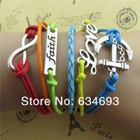 Multicolor woven leather restoring ancient ways of love anchor friendship bracelet
