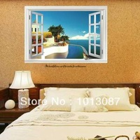 New 2014 Waterscape Wall Stickers Sea Scape Window Stickers adesivo de parede DIY 3D Window Novelty Households Wallpaper