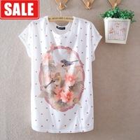 Summer women's batwing sleeve loose cotton 1954 chinese style milk, silk women's o-neck short-sleeve T-shirt  blouse