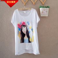 Summer women's loose 100% cotton bow gentlewomen women's comfortable o-neck short-sleeve T-shirt  blouse
