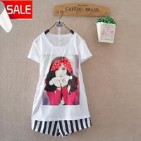 New arrival summer women's fashion sweet bow girl gentlewomen 100% women's cotton o-neck short-sleeve T-shirt  blouse