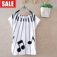 Women's summer batwing shirt 100% cotton loose the notes print school wear fashion women's o-neck short-sleeve T-shirt  blouse