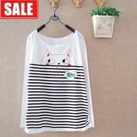 Women's 100% cotton comfortable cartoon kitten stripe batwing sleeve basic shirt female long-sleeve round neck T-shirt women's