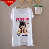 Summer loose 100% cotton comfortable bow girl sweet gentlewomen women's o-neck short-sleeve tshirt  blouses clothing