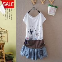 Summer summer gentlewomen fashion batwing shirt female 100% cotton cartoon sweet women's o-neck short-sleeve tshirt