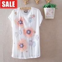 Women summer gentlewomen milk, silk thin flower loose plus size batwing sleeve women's short-sleeve round neck T-shirt  blouse