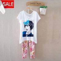 Women's summer girls bow the trend of fashion batwing shirt female 100% women's cotton o-neck short-sleeve T-shirt  blouse