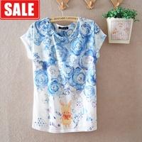 Women's summer loose plus size batwing sleeve cartoon milk silk flower thin women's o-neck short-sleeve T-shirt  blouse