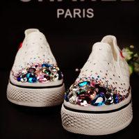 sneakers woman canvas Platform Running shoes for women Fashion handmade rhinestone  platform canvas women's shoes