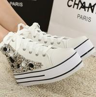 2015 Fashion Women Platform Sneakers Canvas  White Black High Top Casual  Shoes rhinestone women shoes
