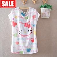 cartoon kiti cat thin milk, silk batwing sleeve plus size loose short-sleeve round neck tshirt women's