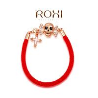 Wholesale ROXI Fashion Accessories Jewelry Full CZ Diamond Austria Crystal Red Rope Cross Skull Bracelet for Women Men