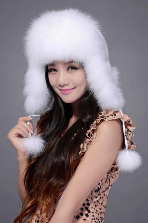 Free shopping real fur hat female winter earmuffs lei feng's cap fox fox fur hat leather fur hats(China (Mainland))