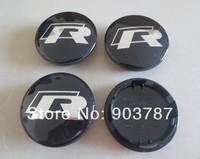 100pcs VW 65mm black alloy Rline wheel center caps car emblem badge wholesale