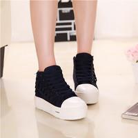 Spring high canvas  elevator shoes platform women's 4cm single shoes female