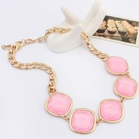 2014 Newly Design Pink Resin Geometric Statement Collar Necklace Women Fashion Gold Chain Jewelry Gifts Free Shipping #104911