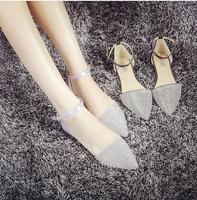 2014 korean  style lady fashion pointed toe flat heel sexy shoe with sparkling diamond women  european size 34-40 free shipping