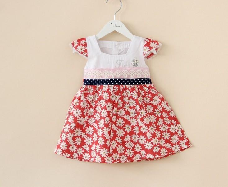 Free Shipping Wholesale 1 lot =3 Kids Clothing children 2014 cotton girl princess dress lace sunflower stamp(China (Mainland))