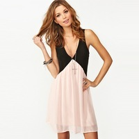 2014 summer new European and American hit color stitching back hollow deep V-neck sleeveless chiffon sexy vest dress