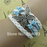 Handmade butterfly fashion simple leather bracelet