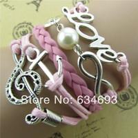 Wholesale Handmade pink music symbol anchor 8 words love infinite charm bracelet