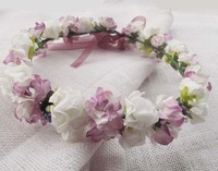10x Wedding flower girl head cowns romatic purple double rose Hawaii mory head garland with ribbon NW018