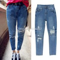 2014 fashion casual Woman hole jeans harem Slim feet pants