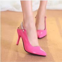 NEW 2014 Fashion Japanned leather high-heeled shoes high-heeled slippers women pumps single shoes Free shipping