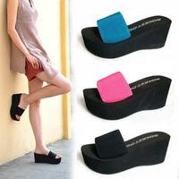 Free shipping!2013 summer platform sandals elastic strap wedges a word Drag female sandals 4 color