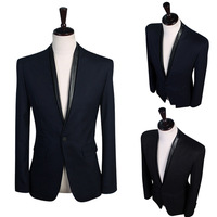 New 2014 Men's Fashion Leisure Neckline spell leather design cultivate one's morality small Suit Men