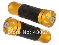 Aluminum Alloy & Rubber Motorcycle Handlebar Grip Covers 2pcs/set (Gold & Black)