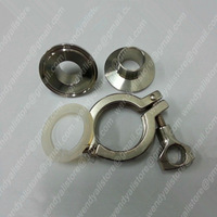 3/4'' stainless steel pipe fittings, sanitary pipe fittings,one  tri-clamp , two ferrules with Silicone ring