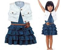 5set/lot girls clothing sets 2014 summer new arrival girls fashion girls dress +vest suit  kids clothes sets