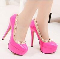 2014 new arrival rivet high-heeled shoes sweet platform thin heels single shoes boots shoes