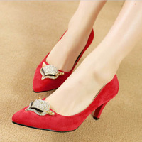 2014 spring sexy thin heels pointed toe rhinestone metal velvet high-heeled red shoes the bride wedding shoes