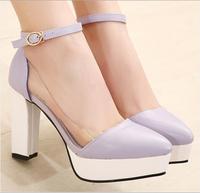 2014vivi pointed toe thick heel high-heeled platform hasp purple beige black female sandals