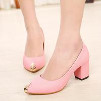 Metal 2014 pointed toe thick heel 7cm Pink black ol shoes