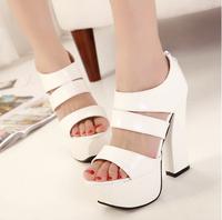 2014 thick heel high-heeled platform white black fashion all-match elegant sweet sandals belle