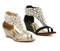 New arrival rhinestone zipper pearl beaded high heels gold beige black flip flops wedges sandals women shoes spring summer 2013