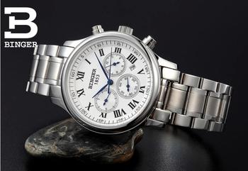 Швейцарский бингер часы мужчины люксовый бренд механическая рука ветер кожаный ремешок модные часы автоматический self-ветер наручные часы