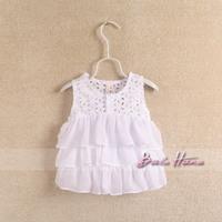 2013 summer child baby girls clothing cotton 100% cutout sweep chiffon spaghetti strap top vest t-shirt
