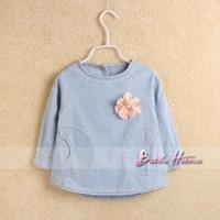 2014 spring child clothing fashion girls flower after back button denim skirt shirt denim pullover coat