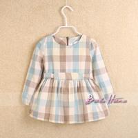 2014 spring child baby girls clothing plaid long-sleeve dress elegant basic skirt princess dress