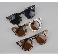 2014NEW Sunglasses women Super Fashion sun glasses metal design round lenses with micro bag 3 Colors High Quality FREE SHIPPING
