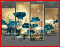 Large Blue Flower Poppy Oil Painting Framed 4 Panel Wall Art Home Decoration Modern Picture XD02088