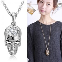 Skull zircon all-match long necklace clothes pendant accessories
