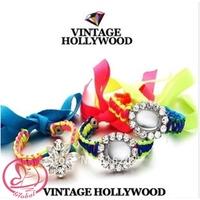 D468 New Fashion Woman Bracelet Fluorescent Color Braided Rope Gem Crystal Flower bracelet Ribbon Bangles Bracelet Hand Rop