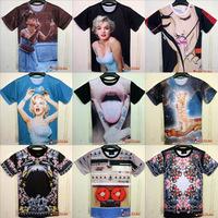 free shipping men/women 3D galaxy Digital print short sleeve novely 3d t shirt top M/L/XL/XXL