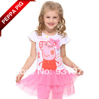 One Pc Retai free shipping New 2014 Hot Sale Nova Kids Clothes Baby Peppa Pig  Girls Print Lace Patchwork Princess Cute Dress